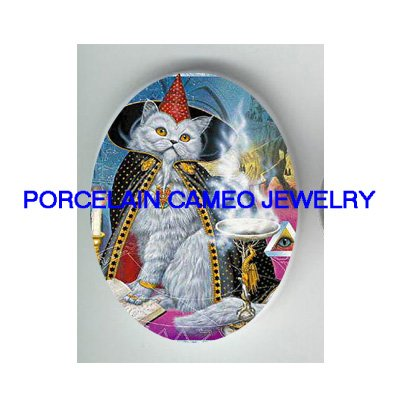 PERSIAN MAGICIAN WIZARD CAT* UNSET PORCELAIN CAMEO CAB