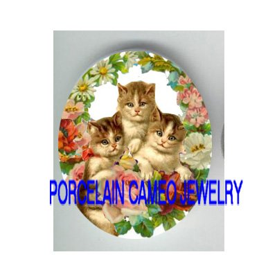 3 VICTORIAN KITTY CAT ROSE DAISY APPLE BLOSSOM* UNSET PORCELAIN CAMEO CAB
