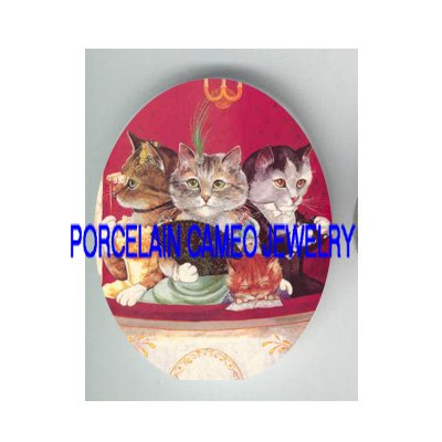 4 VICTORIAN KITTY CAT WATCH OPERA THEATER* UNSET PORCELAIN CAMEO CAB