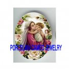 RELIGIOUS MADONNA AND CHILD KISSING ROSE* UNSET PORCELAIN CAMEO CAB