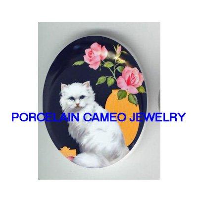 WHITE PERSIAN CAT ROSE* UNSET PORCELAIN CAMEO CAB