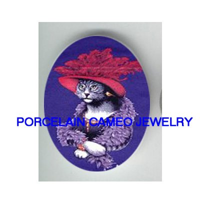 GREY TABBY RED HAT CAT SOCIETY * UNSET PORCELAIN CAMEO CAB