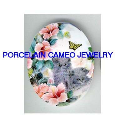 2 PERSIAN KITTY CAT HIBISCUS BUTTTERFLY * UNSET PORCELAIN CAMEO CAB