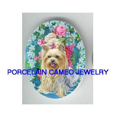 YORKSHIRE TERRIER DOG VICTORIAN ROSE FORGET ME NOT* UNSET PORCELAIN CAMEO CAB