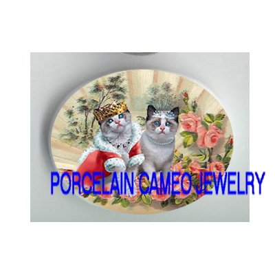 VICTORIAN KITTY CAT CROWN QUEEN PRINCESS ROSE FAN PORCELAIN CAMEO CAB