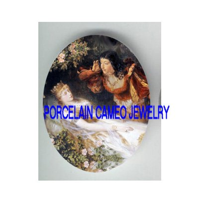 *VICTORIAN SLEEPING BEAUTY PRINCE ROSE * UNSET PORCELAIN CAMEO CAB