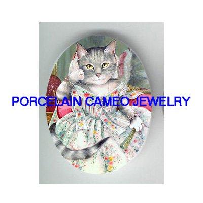VICTORIAN QUEEN MARIE ANTOINETTE CAT * UNSET PORCELAIN CAMEO CAB