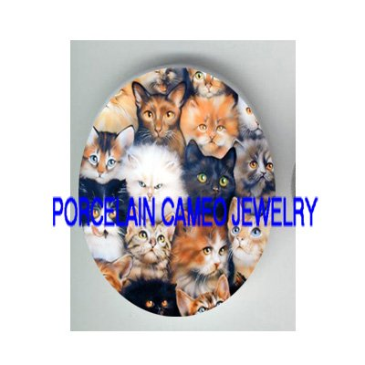 BLACK CAT KITTY CAT COLLAGE* UNSET PORCELAIN CAMEO CAB