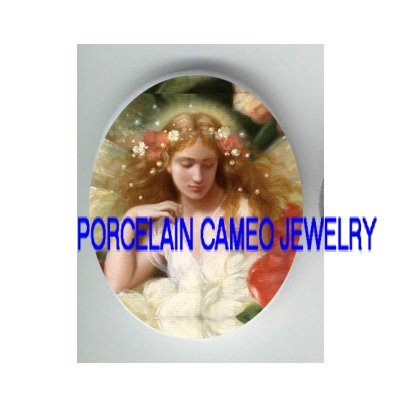 VICTORIAN DRAGONFLY FAIRY FLOWER* UNSET PORCELAIN CAMEO CAB