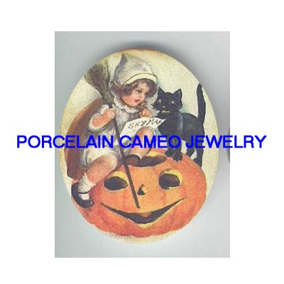 VICTORIAN GIRL TEACH BLACK CAT SPELL HALLOWEEN* UNSET PORCELAIN CAMEO CAB