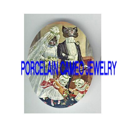 VICTORIAN KITTY CAT WEDDING * UNSET PORCELAIN CAMEO CAB