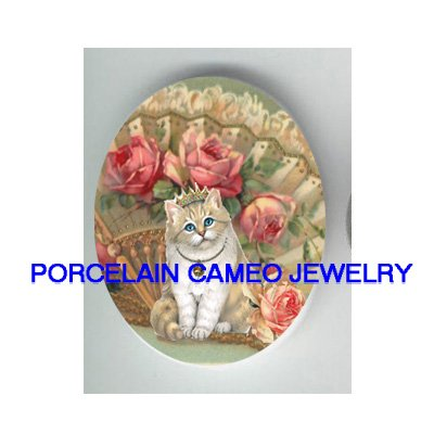 PRINCESS KITTY CAT WITH VICTORIAN ROSE FAN * UNSET PORCELAIN CAMEO CAB