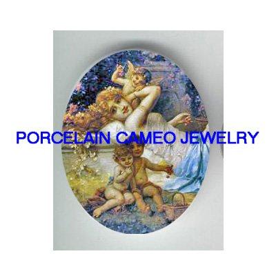 VICTORIAN ANGEL CHERUB GODDESS FLOWER * UNSET PORCELAIN CAMEO CAB