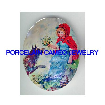 VICTORIAN LITTLE RED RIDING HOOD FLOWER WOLF* UNSET PORCELAIN CAMEO CAB