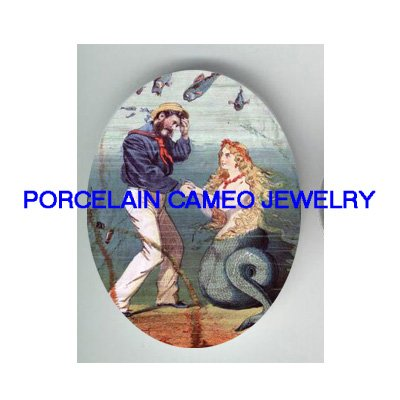 VICTORIAN MERMAID WITH SAILOR * UNSET PORCELAIN CAMEO CAB