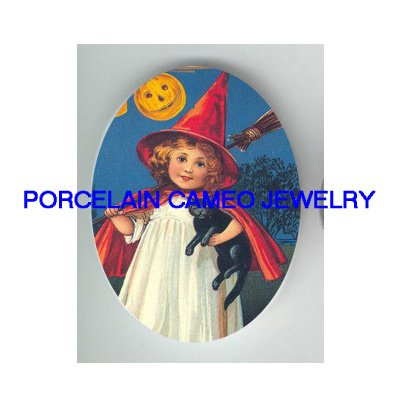 VICTORIAN WITCH HAT GIRL BLACK CAT PUMPKIN MOON* UNSET PORCELAIN CAMEO CAB