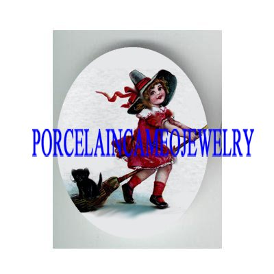 VICTORIAN WITCH GIRL RIDE BROOM BLACK CAT * UNSET PORCELAIN CAMEO CAB