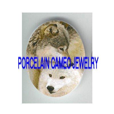 2 CUDDLIE LOVING GREY WOLF* UNSET PORCELAIN CAMEO CAB