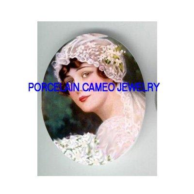 VINTAGE BRIDE WITH ROSE * UNSET PORCELAIN CAMEO CAB