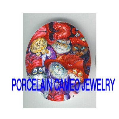 RED HAT CAT SOCIETY COLLAGE* UNSET PORCELAIN CAMEO CAB