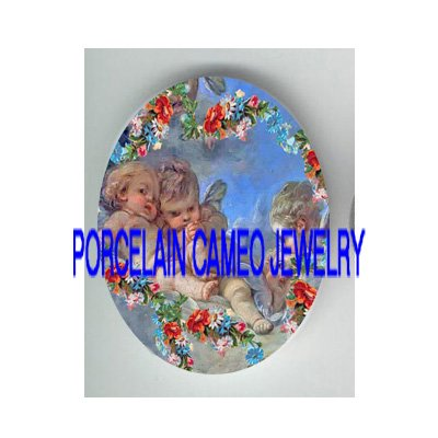 3 ROCOCO ANGEL CHERUB ROSE* UNSET PORCELAIN CAMEO CAB