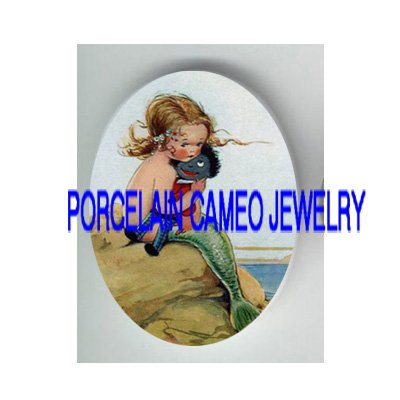 VICTORIAN LITTLE MERMAID HOLD DOLL * UNSET PORCELAIN CAMEO CAB