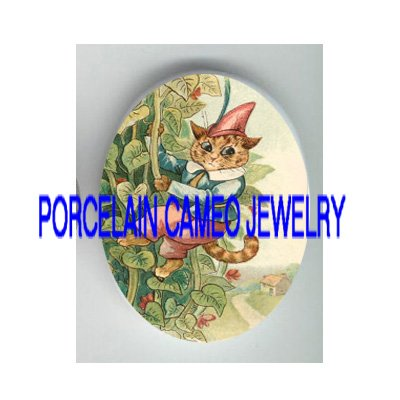 VICTORIAN KITTY CAT JACK AND BEANSTALK PORCELAIN CAMEO