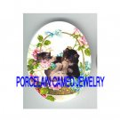 3 VICTORIAN KITTY CAT ROSE FORGET ME NOT BASKET * UNSET PORCELAIN CAMEO CAB