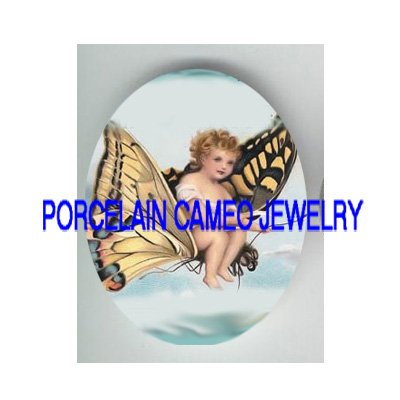 VICTORIAN BUTTERFLY ANGEL FAIRY * UNSET PORCELAIN CAMEO CAB