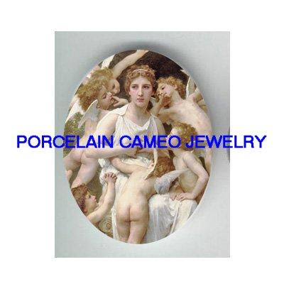 VICTORIAN GODDESS WITH ANGEL CHERUB * UNSET PORCELAIN CAMEO CAB