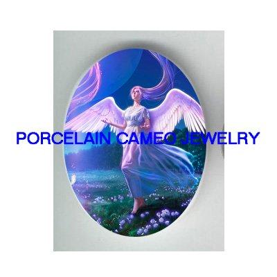 BLUE ANGEL ROSE * UNSET PORCELAIN CAMEO CAB 30X40 MM