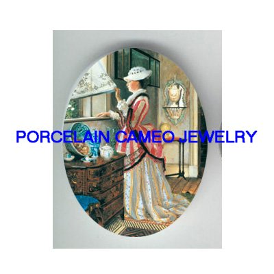 VICTORIAN LADY LOOKING OUT WINDOW* UNSET PORCELAIN CAMEO CAB