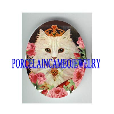 VICTORIAN QUEEN OF HEART KITTY CAT ROSE * UNSET CAMEO PORCELAIN CAB