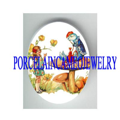 ALICE IN WONDERLAND CATERPILLAR SMOKING PORCELAIN CAMEO