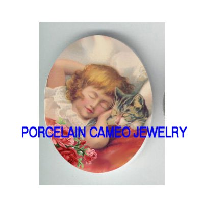 VICTORIAN GIRL SLEEP WITH KITTY CAT ROSE * UNSET PORCELAIN CAMEO CAB