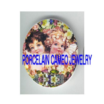 2 VICTORIAN ANGEL CHERUB FLOWER* UNSET PORCELAIN CAMEO CAB