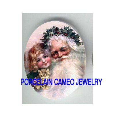 VICTORIAN CHRISTMAS SANTA WITH GIRL KITTY CAT   * UNSET PORCELAIN CAMEO CAB