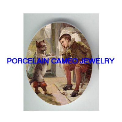 VICTORIAN PUSS IN BOOTS WITH PRINCE PORCELAIN CAMEO