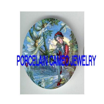 VICTORIAN PETER PAN WITH FAIRY    * UNSET PORCELAIN CAMEO CAB