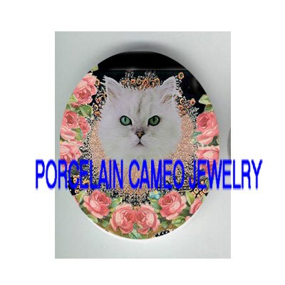 VICTORIAN QUEEN PERSIAN CAT ROSE* UNSET PORCELAIN CAMEO CAB