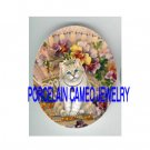 CROWN JEWELED PRINCESS KITTY CAT PANSY FAN  * UNSET PORCELAIN CAMEO CAB