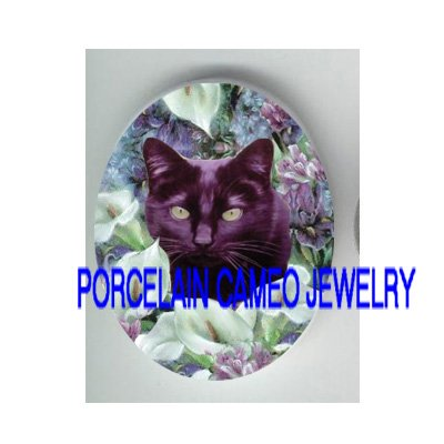 BLACK CAT WITH CALLA LILY AND IRIS  * UNSET PORCELAIN CAMEO CAB