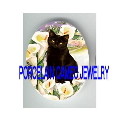 BLACK CAT WITH VICTORIAN CALLA LILY  PORCELAIN CAMEO CAB