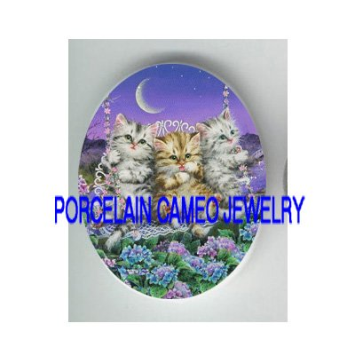 3 KITTY CAT ON SWING HYDRANGEA   * UNSET PORCELAIN CAMEO CAB