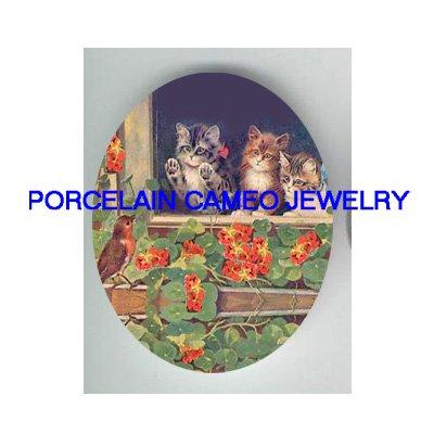 3 VICTORIAN  KITTY CAT WINDOW ROBIN BIRD* UNSET PORCELAIN CAMEO CAB
