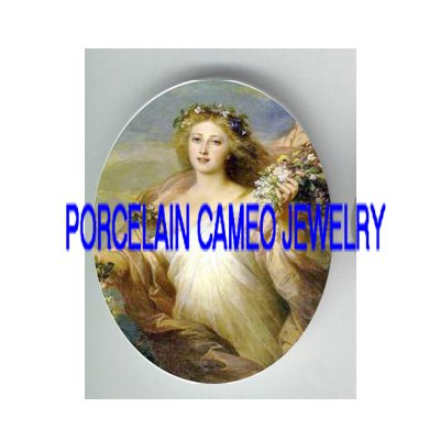 VICTORIAN MERMAID SEA GODDESS  * UNSET PORCELAIN CAMEO CAB