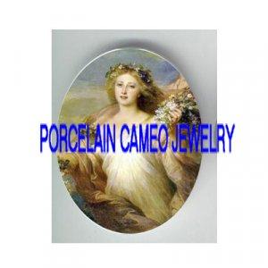 VICTORIAN MERMAID SEA GODDESS  * UNSET PORCELAIN CAMEO CAB