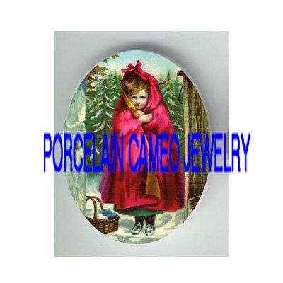 VICTORIAN LITTLE RED RIDING HOOD * UNSET PORCELAIN CAMEO CAB