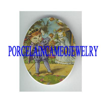 VICTORIAN KITTY CAT KNIGHT AND PRICESS * UNSET PORCELAIN CAMEO CAB