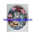 2 VICTORIAN KITTY CAT ROSE VIOLET  * UNSET PORCELAIN CAMEO CAB